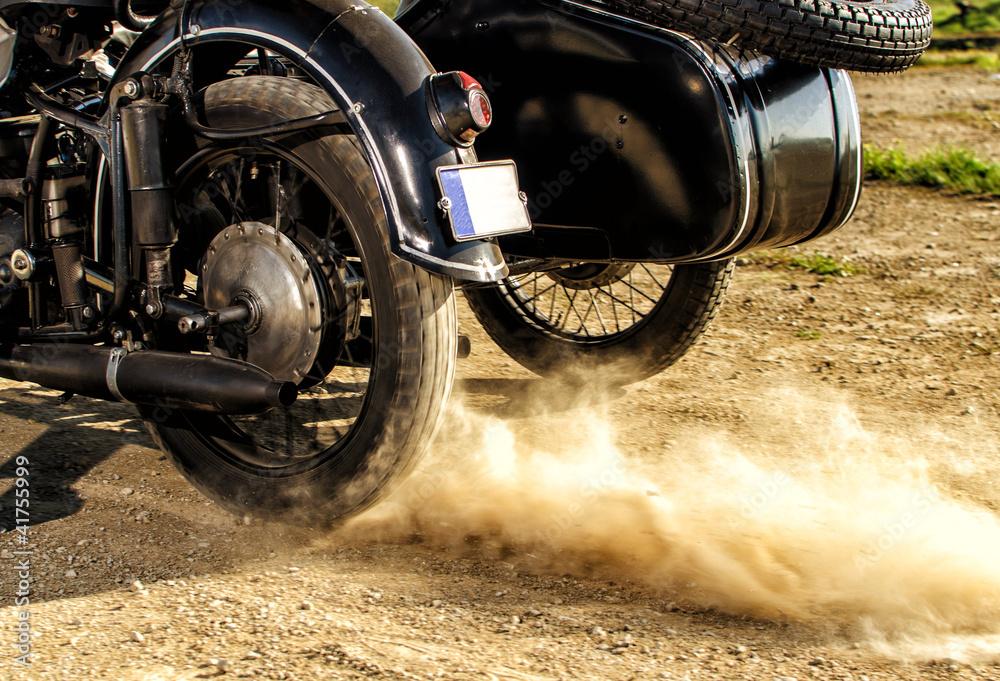 Fototapeta Motorcycle with sidecar preparing to race