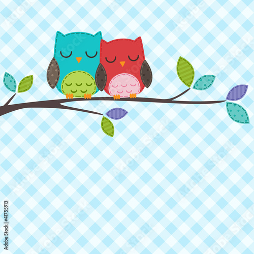 Poster Uilen cartoon couple of owls