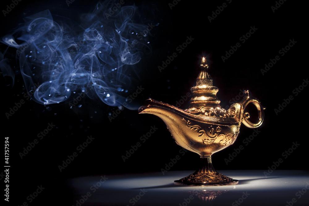 Fototapety, obrazy: Magic Aladdin's Genie lamp on black with smoke