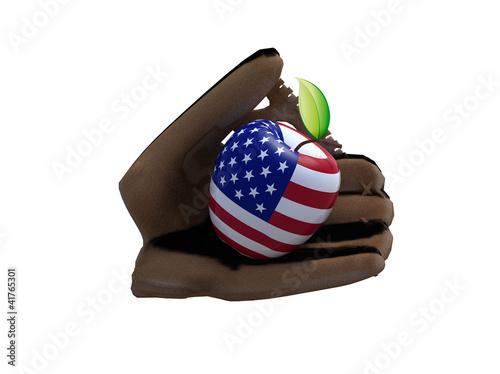 Fotografia, Obraz baseball glove and apple