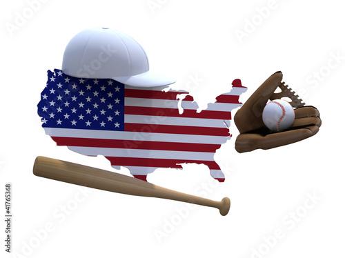 Fototapeta american map with flag, baseball tools