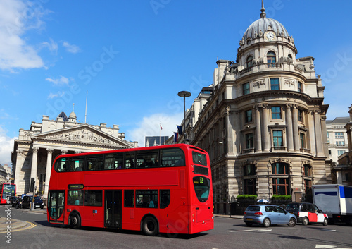 Fotografie, Tablou  London street with red double decker bus