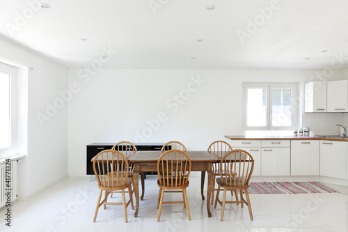 interior house, large modern kitchen, dining table Poster