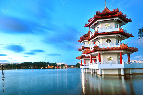 Acrylic Prints Singapore Floating Pagodas at the Singapore Chinese Garden
