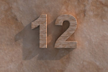 Number 12 Carved From Marble On Marble Base