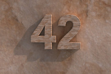 The Number 42 Carved From Marble On Marble Base