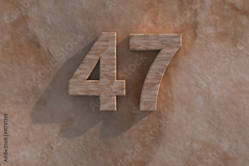 Poster  47 in numerals in mottled sandstone