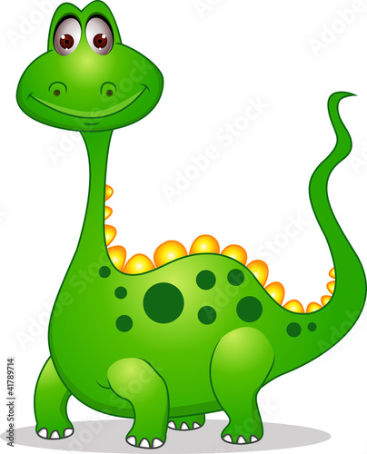 Photo sur Aluminium Dinosaurs Cute green dinosaur cartoon