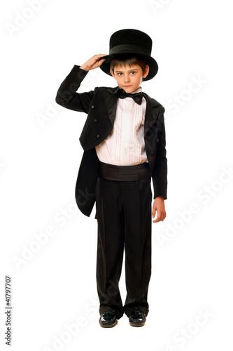 Fotografie, Obraz  Little boy in a tuxedo and hat