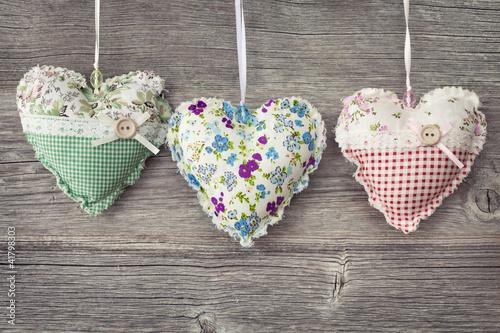 Foto-Leinwand ohne Rahmen - Colorful hearts (von Elena Schweitzer)