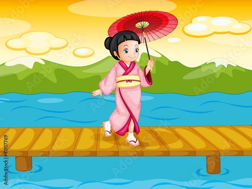 Canvas Prints River, lake Chinese woman