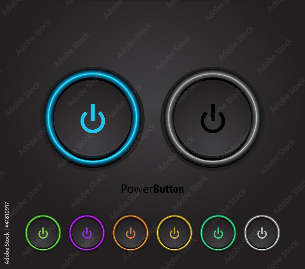 Fototapeta Black led light power button