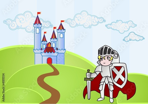 Poster Kasteel Baby knight with castle on background