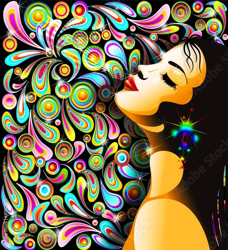 Foto op Canvas Bloemen vrouw Bella Ragazza Bacio-Girl's Kiss-Colorful Pop Art Design