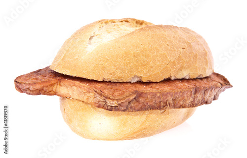 Photo  German meat loaf on a roll isolated
