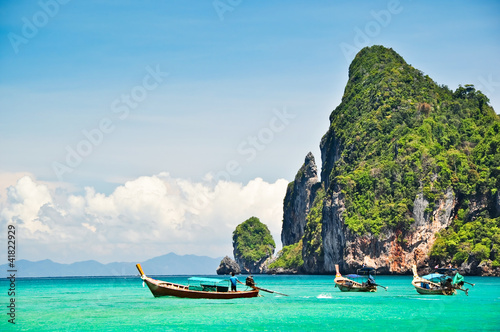 Foto Rollo Basic - Pristine ocean and mountain landscape (von surangaw)