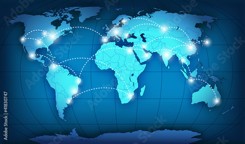 Wall Murals World Map World network