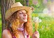 canvas print picture Mädchen mit Pusteblumen / dandelion-12