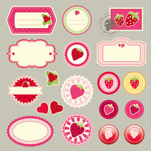 Cute Elements With Strawberrys