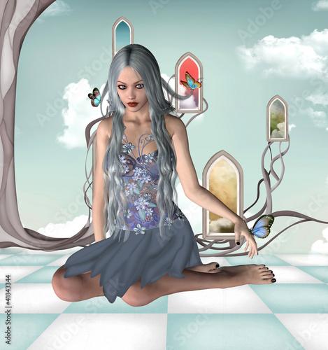 La pose en embrasure Fées, elfes Blue fairy
