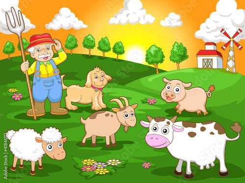 Poster Dogs happy farm