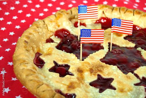 Photo  flags in cherry pie