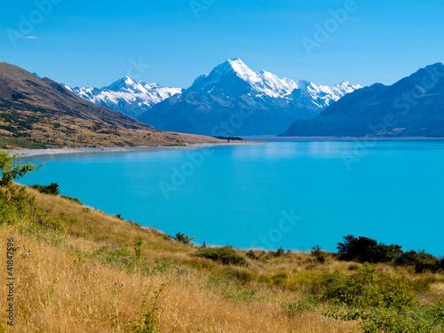 Montage in der Fensternische Neuseeland Emerald glacier Lake Pukaki, Aoraki Mt Cook NP, NZ