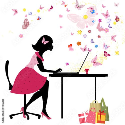 Fotobehang Bloemen vrouw Girl loves to shop online