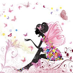 Flower Fairy in the environment of butterflies