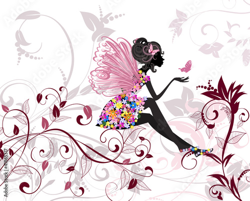 Poster Floral woman Flower Fairy with butterflies