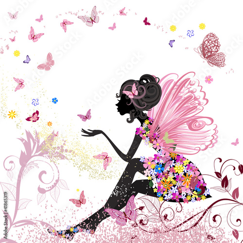 Deurstickers Vlinders in Grunge Flower Fairy in the environment of butterflies
