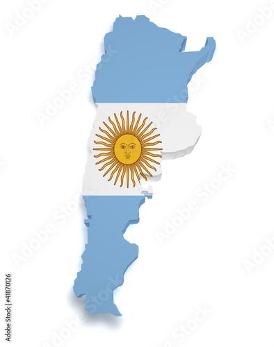 Fotografie, Tablou  Argentina Map 3d Shape