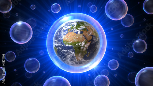 Fototapety, obrazy: 3D bubbles universe with Africa, Europe, Middle East