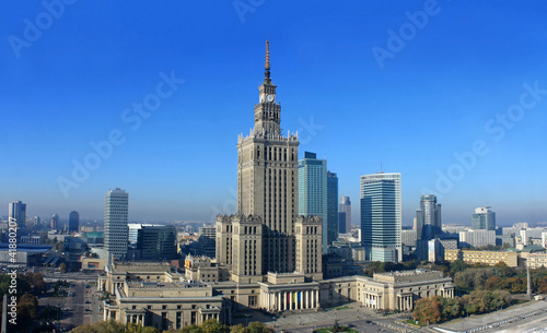 Warsaw panorama with palace science and culture - 41880207