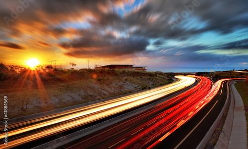 Obraz Coucher de soleil sur la route des Tamarins, La Réunion. - fototapety do salonu