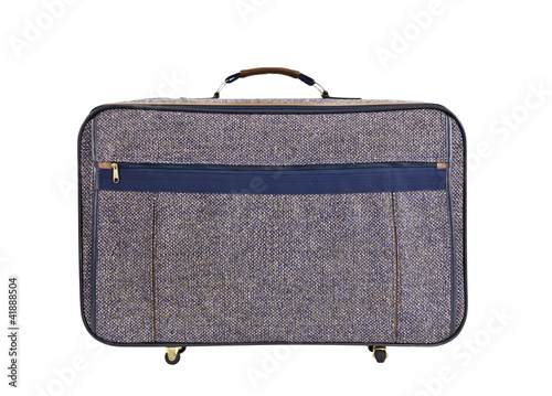 Fotografie, Obraz  Old Tweed Suitcase Isolated