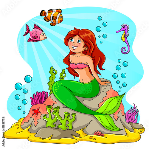 Tuinposter Zeemeermin mermaid and her friends