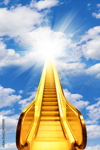 golden escalator stairs to the shine in the sky Wallpaper Mural
