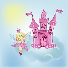 The girl the fairy dreams on a cloud