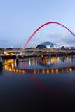 The Gateshead Millennium Bridge over the River Tyne, UK.