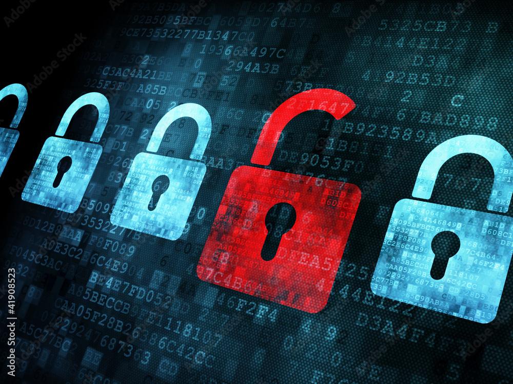 Fototapeta Security concept: Lock on digital screen