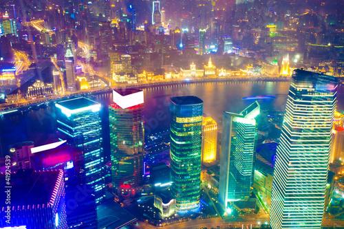 Bird view at Shanghai China Billede på lærred
