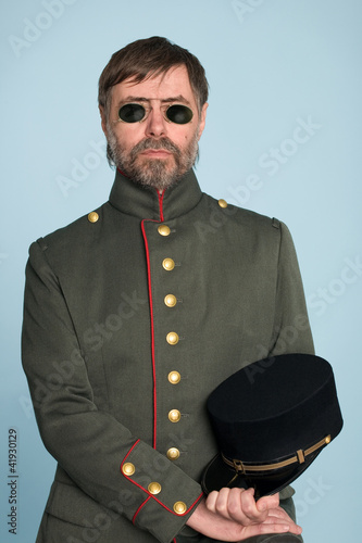 man in uniform of military officer Canvas Print