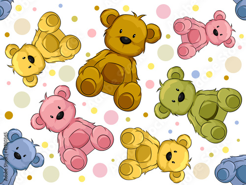 Fotografie, Obraz  Seamless Teddy Bears