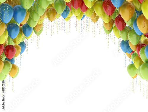 Photo  Colorful birthday party balloons isolated on white background