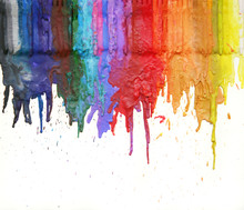 Melted Colors From A Crayon Running Down Paper