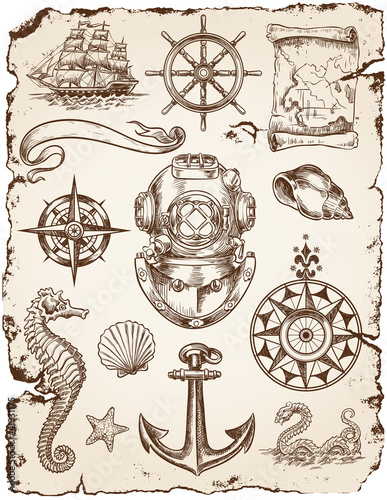 Deurstickers Schip Nautical Vector Illustration Set