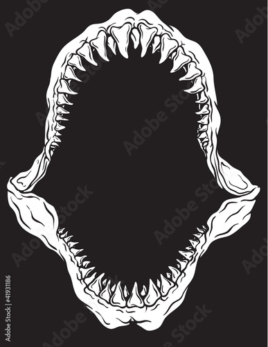 Valokuvatapetti Shark Jaw Isolated Vector Illustration