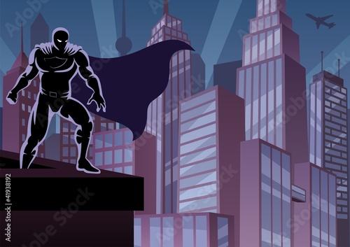 Poster Superheroes Superhero on Roof