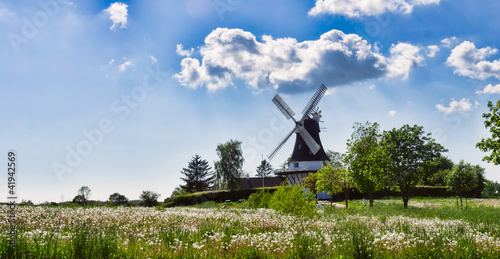Photo  Wind mill in Egeskov, fyn, Denmark
